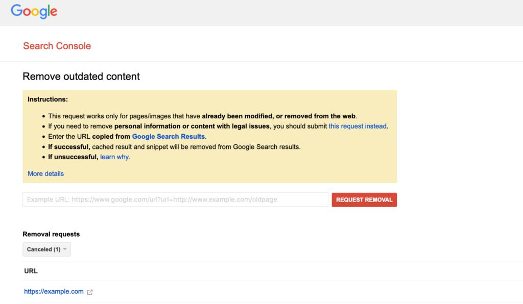 Google URL's Removal Tool