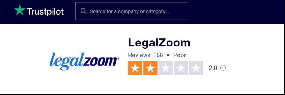 Legal Zoom TrustPilot Rating