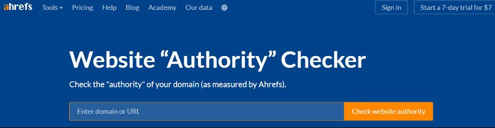 Website Authority checker Ahref